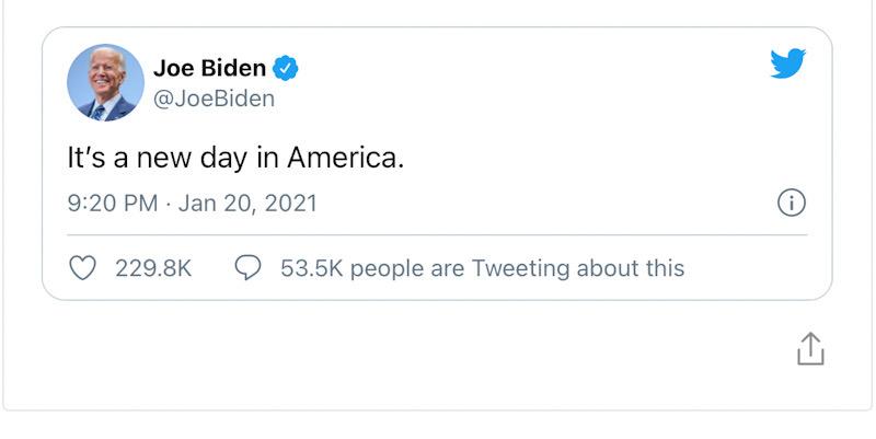 Di Hari Pelantikan, Joe Biden: It's A New Day In America